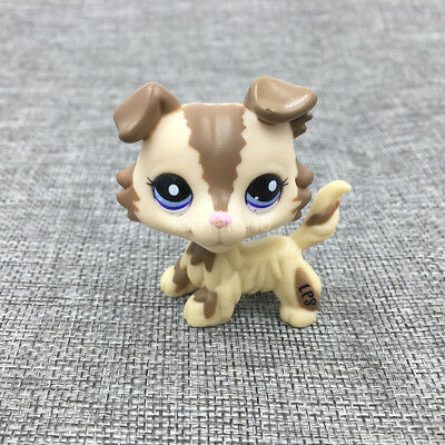 Littlest Pet Shop Cream Tan Dog LPS#2210 Brown Collie Blue Eyes Puppy Figure Toy