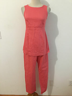 Motherhood Maternity 2-Piece Casual Pant Suit Coral Pique Cotton/Spandex Size S
