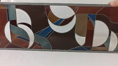 Vintage leaded abstract stained glass hanging art