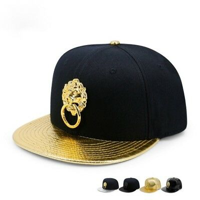Gold Metal Lion Head Door Lock Baseball Cap Hip Hop Snapback Unisex