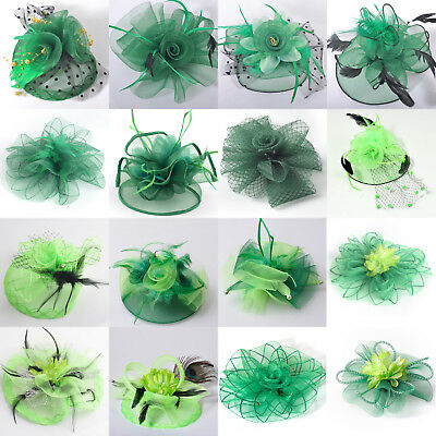 Lady Green Fascinator Race Ascot Hat Feather Hair Clips Bridal Hairpin Xmas Gift