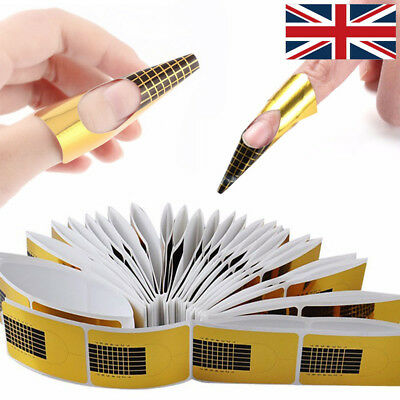 500 Gold Acrylic Gel Nail Art Forms Tip Sculpting Guide Stickers Salon Accessory
