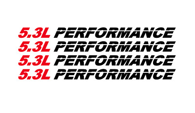 5.3L PERFORMANCE set of 4 Hood decals emblem -  Fits Chevy Silverado GMC -53P