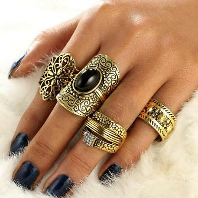 4pcs/Set Women Retro Bohemian Finger Rings Boho Gem Stone Midi Knuckle Ring Set