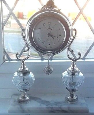 Italian Antique Style Silver Color Mantel Clock with onyx stand