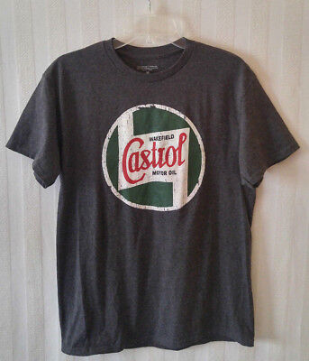 New Wakefield CASTROL Motor Oil Distressed Logo Licensed SS Gray T-Shirt Size M