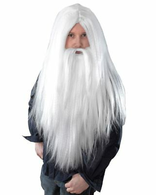 Wizard Gandalf Dumbledore Merlin Fancy Dress Costume White Long Wig Beard Set