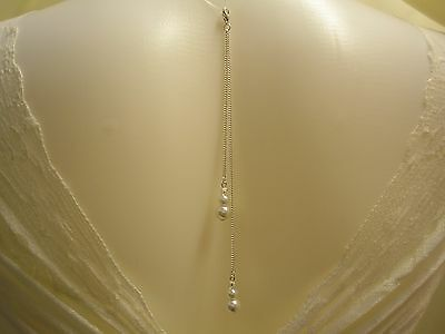 11c Bridal Pearl & Crystal Chain Back drop Clip on Attachment for a necklace