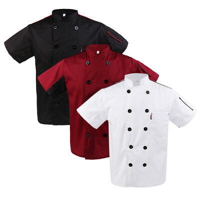 Men Womens Chef Jacket Coat Short Sleeve Catering Cooker Uniform with Pocket