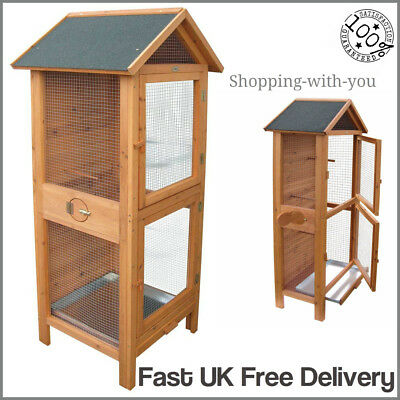 Large Outdoor Wooden Aviary Bird Cage Indoor Small Birds Parrot Finches Canary