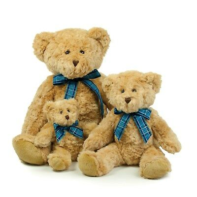 Mumbles Bracken Teddy Bear with Ribbon - Plush Toy -3 Sizes S,M,L - Very Soft!