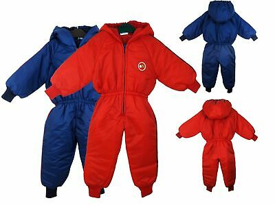 Insulated Padded Kids Snow Suit Winter Girls Boys Baby All-In-One 12 - 4 Yrs UK