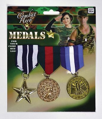 New Combat Hero Medals Army Military Cadet War Soldier Fancy Dress Accessory
