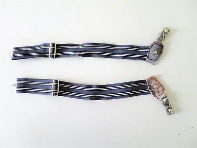 VINTAGE Mens Sock  Garters - Gray Striped