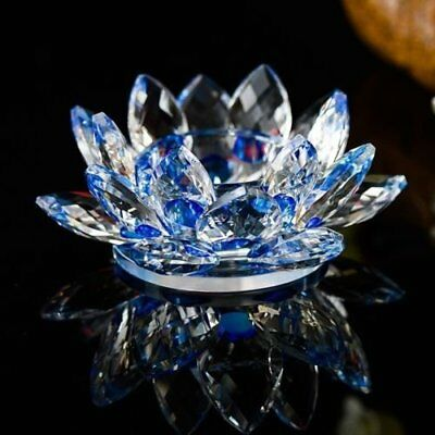 Large Blue Crystal Lotus Flower Candler Holder With Gift Box  Crystograft Decor