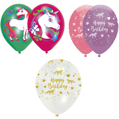 Happy Birthday Unicorn Balloons 6Pcs (Clear Gold/ Pink Lilac & Unicorn) Size 12""