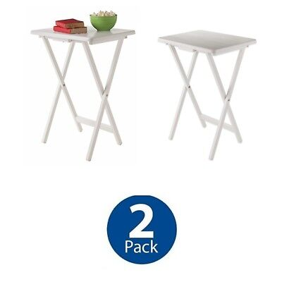White Solid Wood Folding Tv Tray Tables Set Of 2 Laptop Serving Snack Table