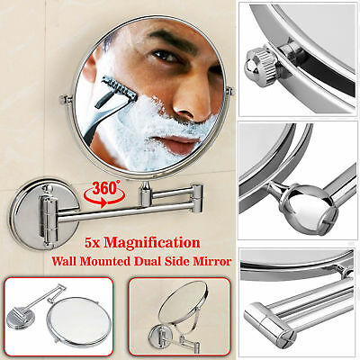 New Dual Wall Mounted 5x Magnifying Bathroom Make Up Shaving Mirror Double Sided