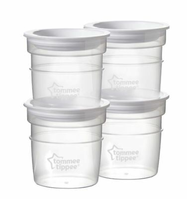 4 x Tommee Tippee Breast Milk Storage Pots 60ml Graduated Stackable Containers