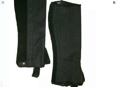 Half Chaps Horse Riding Eguestrain Black Suede. Small