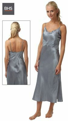 d6f23e3860 Ladies Womens Satin Long Nightdress Silver Grey Silk Lace Lingerie Nightgown