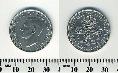 Great Britain 1943 - 1 Florin (2 Shillings) Silver Coin - King George VI - WWII
