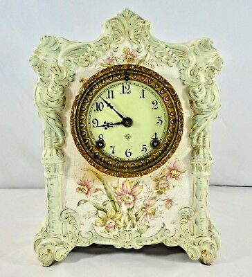 Porcelain Case 8-day Hand Painted ANSONIA Mantel Clock. Chimes. Works.1900