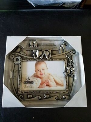 "MALDEN Baby Picture Frame Noah's Ark Pewter 6"" x 7 1/2"" Photo 3 1/2"" x 5"" NEW!"