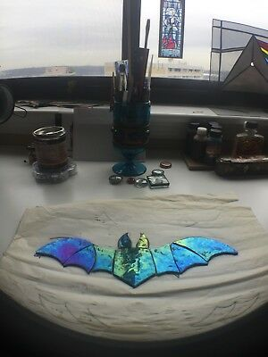 Stained Glass Bat Sun Catcher, Hand made Bat iridescent glass, Gift for himHer
