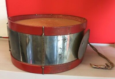 Antique Wood And Brass Snare Drum With Attached Cymbal-Estate Sale-TCC