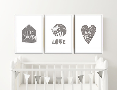 Baby Boys / Girls Grey Nursery Prints / Bedroom Decor Pictures Wall Art Unisex
