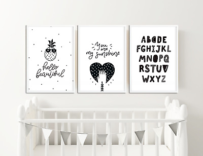 Baby Boys / Girls Monochrome Nursery Prints / Bedroom Decor Pictures Wall Art