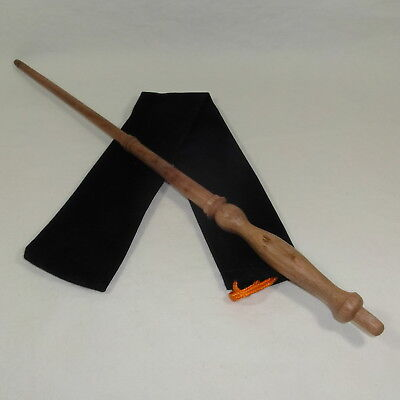 """16"""" Hand Turned Mahogany Wood Magic Wand Witch Wizard Wicca Pagan w/Velvet Bag"""