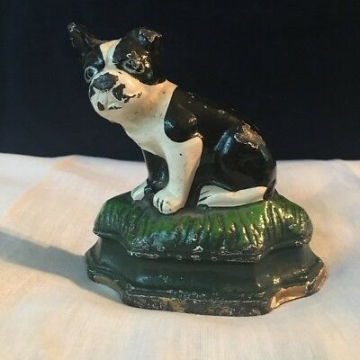 Vintage Boston Terrier Dog Cast Iron Doorstop
