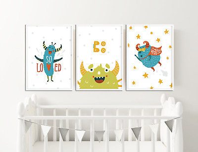 Nursery Prints Cute Monsters / Baby Room Decor Ideas / Kids Bedroom Pictures