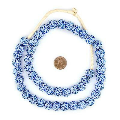 Blue & White Fused Recycled Glass Beads 14mm Ghana African Round Large Hole