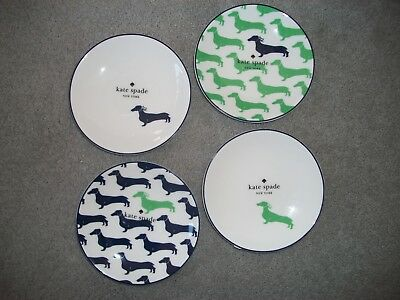 Kate Spade by Lenox Wickford Dachshund Tidbit Plates Set/4 NWT Tea Kitchen Dog & KATE SPADE New York By Lenox Wickford Dachshund Set Of 4 Tidbit ...