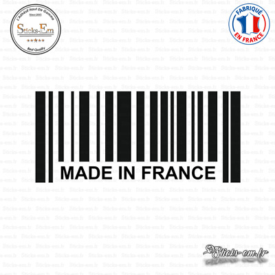 Sticker Code Barre Made in France Decal Aufkleber Pegatinas D-302