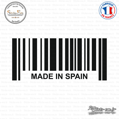 Sticker Code Barre Made in Spain Decal Aufkleber Pegatinas D-304