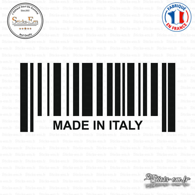 Sticker Code Barre Made in Italy Decal Aufkleber Pegatinas D-306