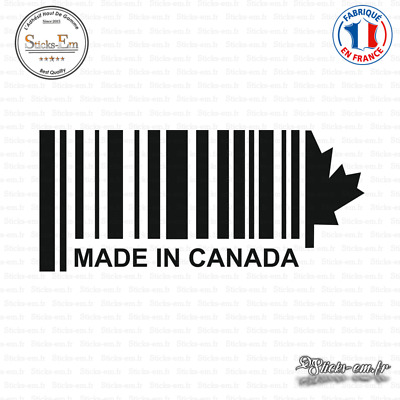 Sticker Code Barre Made in Canada Decal Aufkleber Pegatinas D-309