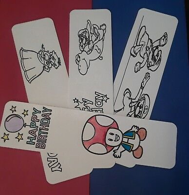 Birthday party favor supplies lot 12 character bookmarks Super Mario Bros