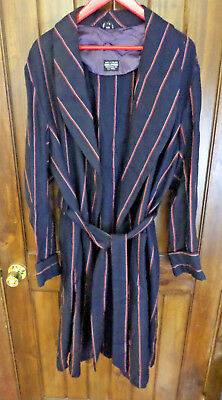 Brooks Brothers Navy Blue Stripped, Made In England Wool Long Robe. Men's L