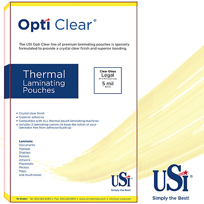 """Opti Clear Thermal (Hot) Laminating Pouches Legal Size 5 Mil 9x14.5"""" 100 Pouches"""
