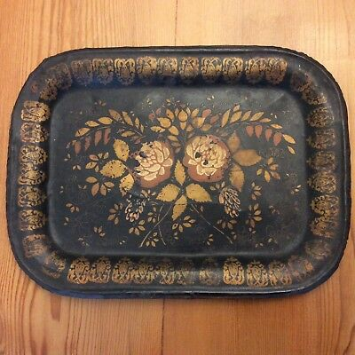Early Hand Painted Golden Roses, Original Tin Tole Tray, Very Old