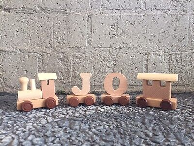 Wooden Alphabet Name Train Toy Personalised Gift 1st Birthday Christening