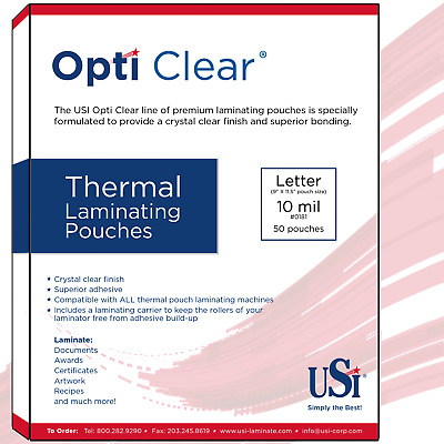 "Opti Clear Thermal Hot Laminating Pouches Letter Size 10 Mil 9x11.5"" 50 Pouches"