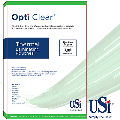 "Opti Clear Thermal (Hot) Laminating Pouches Menu Size 3 Mil 12x18"" 100 Pouches"