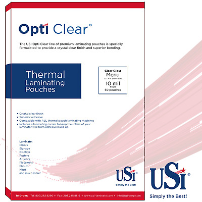 "Opti Clear Thermal (Hot) Laminating Pouches Menu Size 10 Mil 12x18"" 50 Pouches"