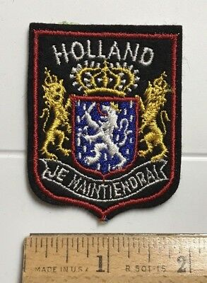 HOLLAND The Netherlands Coat of Arms Je Maintiendrai Motto Souvenir Felt Patch